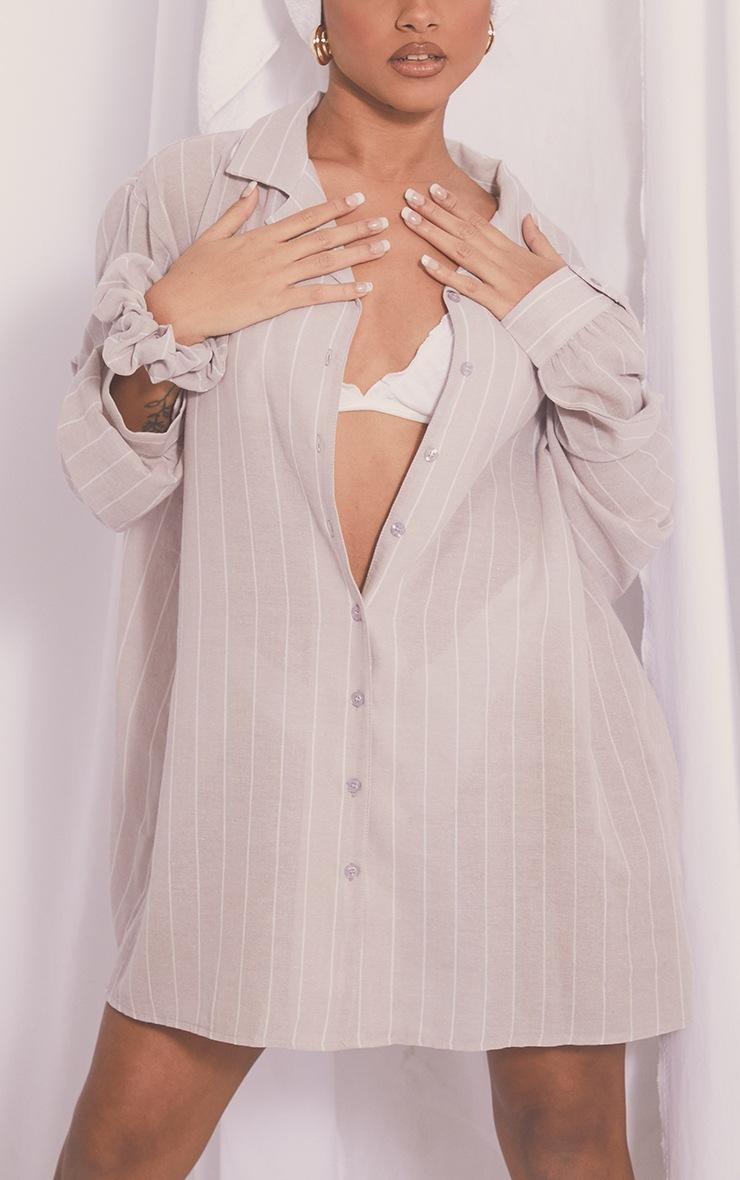 Stone Wide Stripe Cotton Oversized Nightshirt With Scrunchie 4