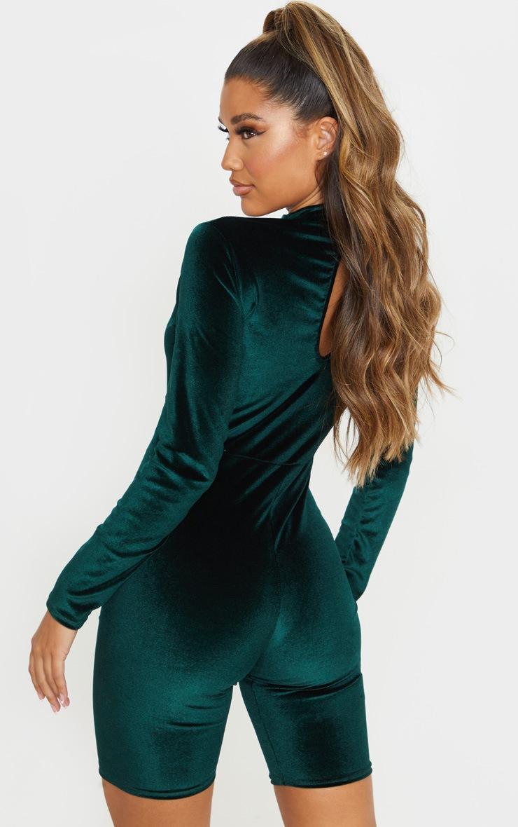 Emerald Green High Neck Velvet Unitard 2