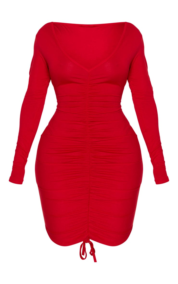 Shape Red Jersey Ruched Front Long Sleeve Dress 5