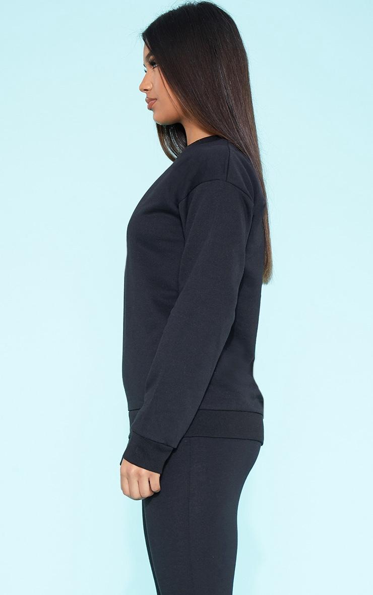 RECYCLED Black Crew Neck Sweater 2