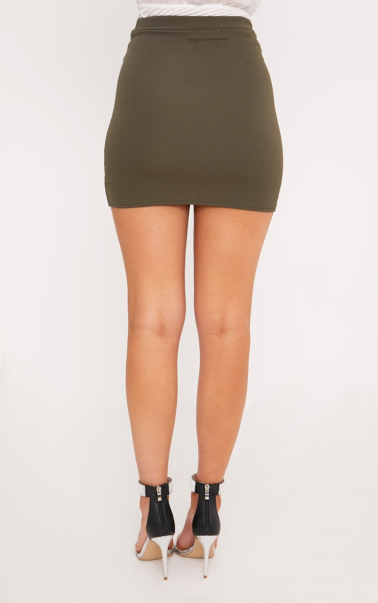 Gabriella Khaki Asymmetric Mini Skirt 4