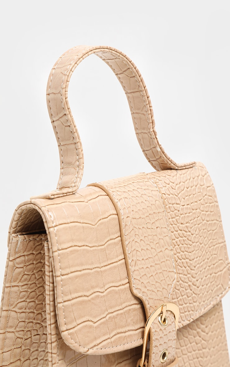 Fawn Patent Croc Front Buckle Mini Bag 3