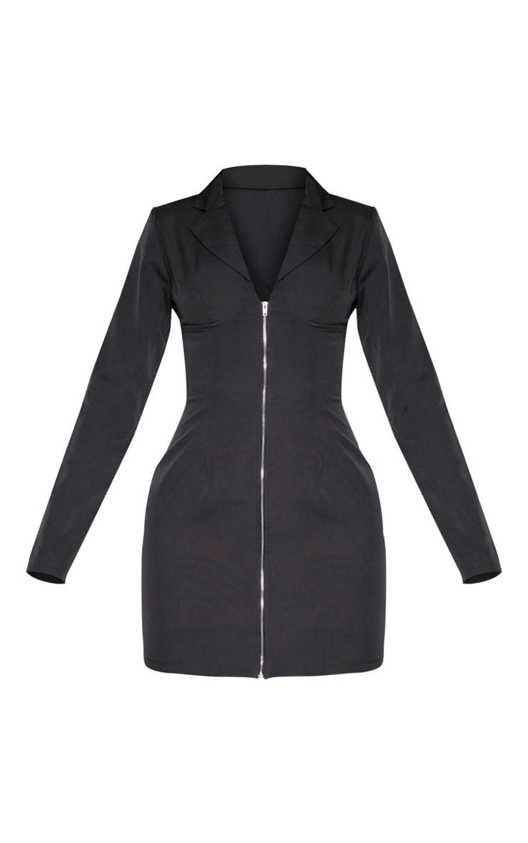 Tall Black Corset Detail Zip Long Sleeve Dress 3