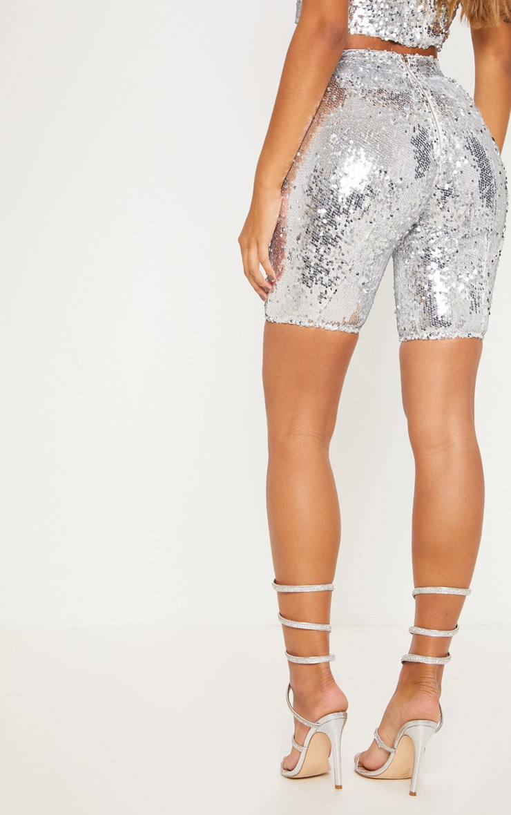 Silver Sequin Cycle Shorts 5