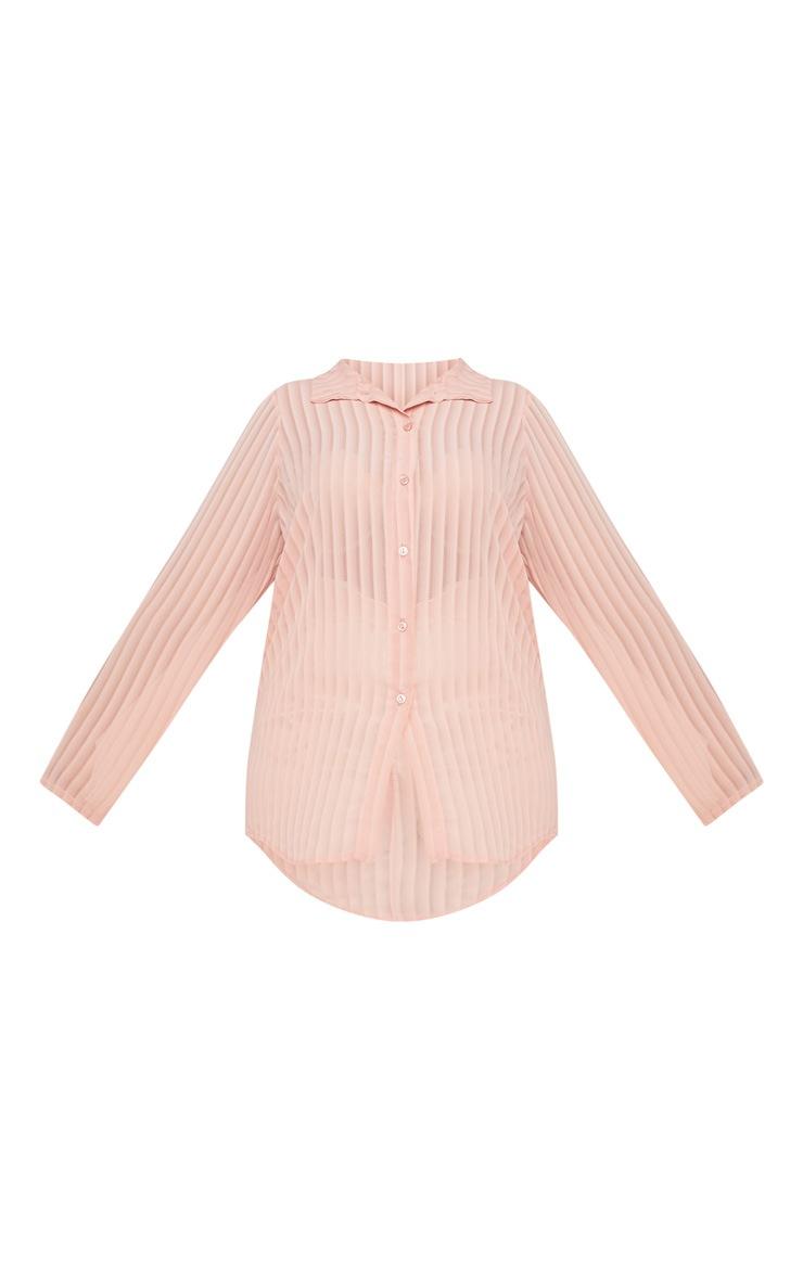 Plus Dusty Pink Striped Chiffon Oversized Shirt 3