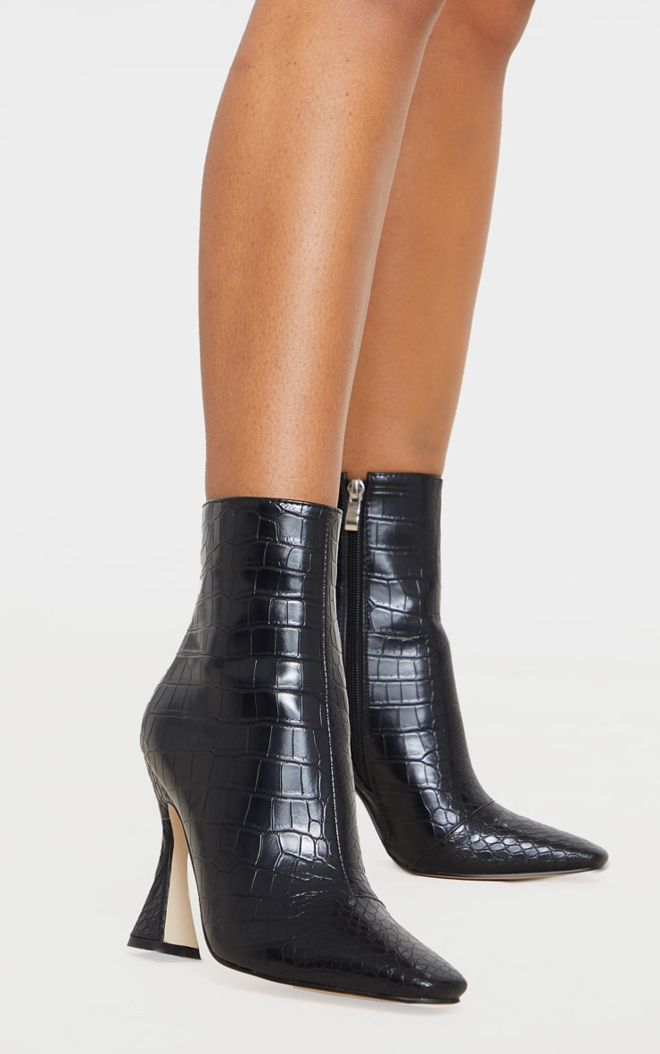 Black Croc Flare Heel Ankle Boots 2