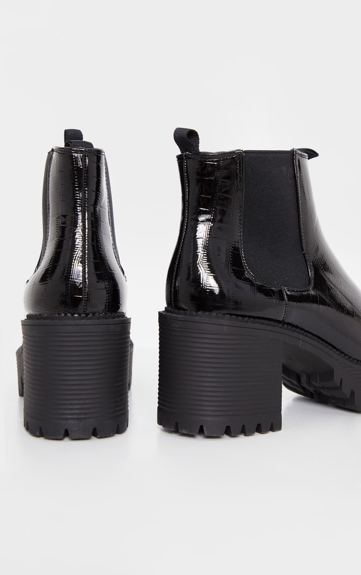 Black PU Chunky Cleated Chelsea Ankle Boot 4