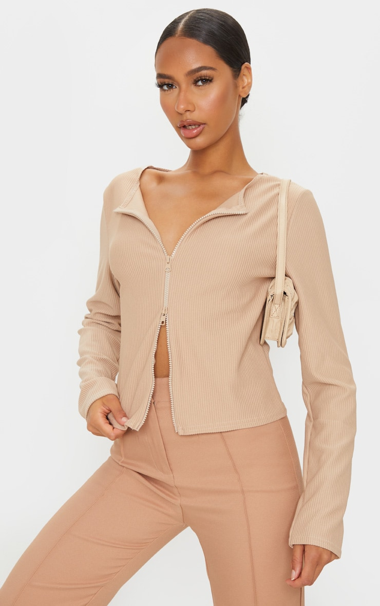 Sand Jumbo Ribbed Double Zip Top 1