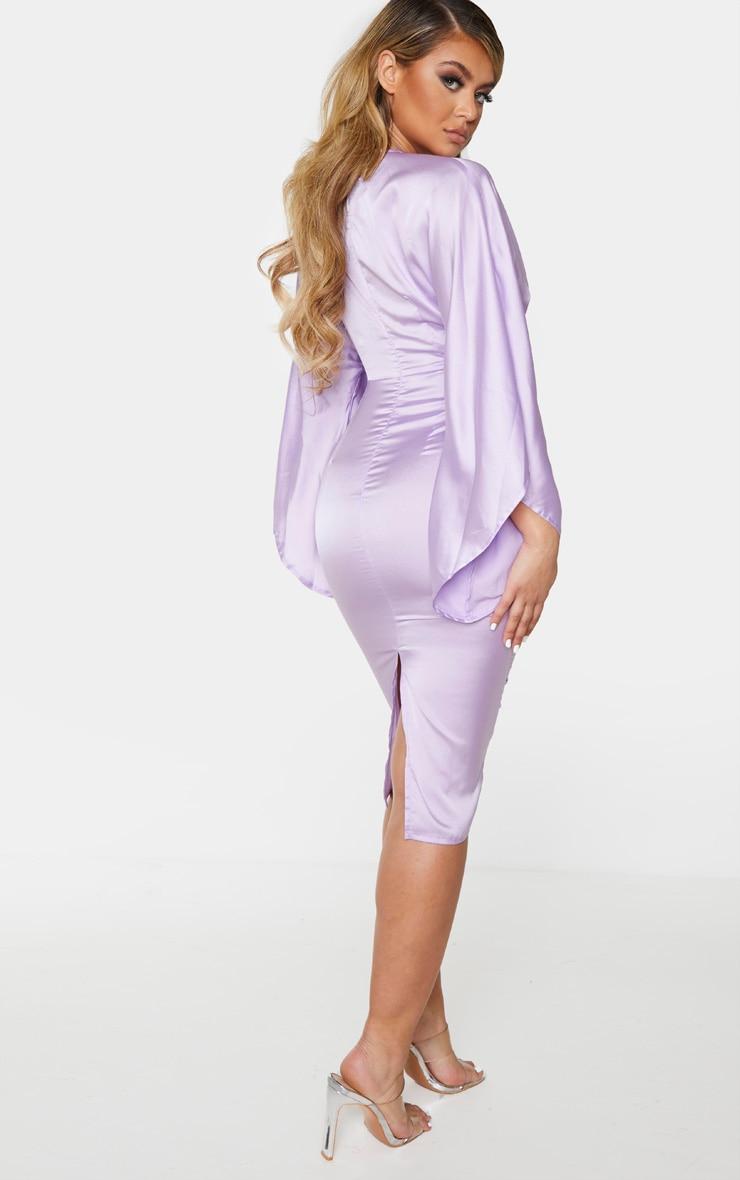 Lilac Satin Cut Out Flare Sleeve Midi Dress 2