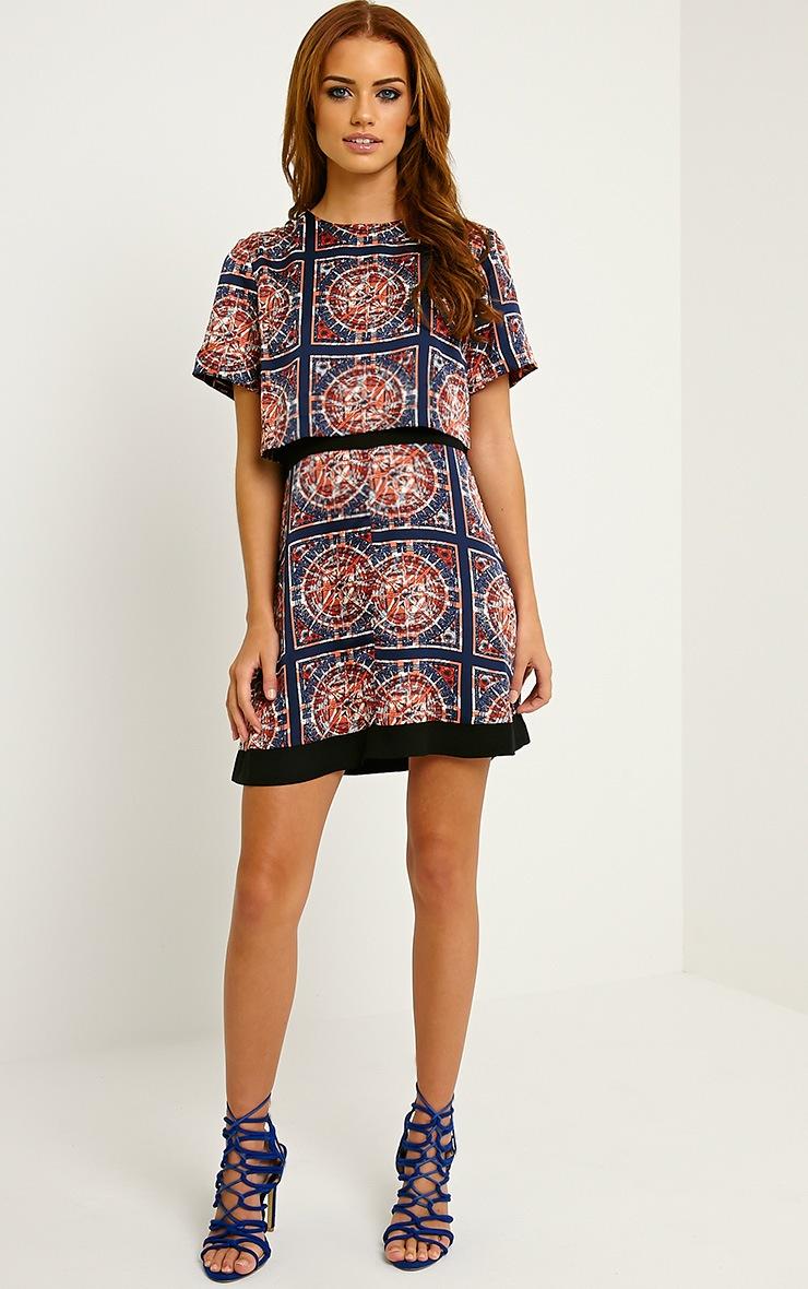 Leonarda Orange A-Line Printed Layered Shift Dress 3