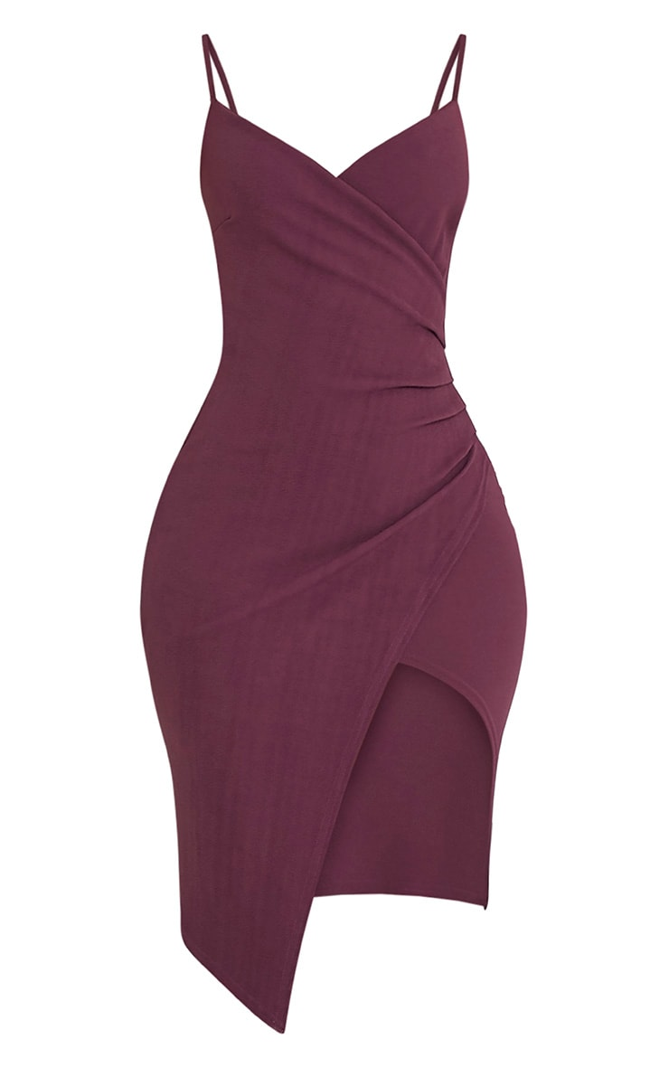 Lauriell Aubergine Wrap Front Crepe Midi Dress 2