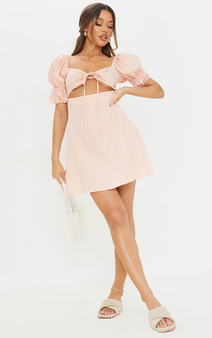 Stone Woven Tie Detail Cut Out Puff Sleeve Shift Dress 3