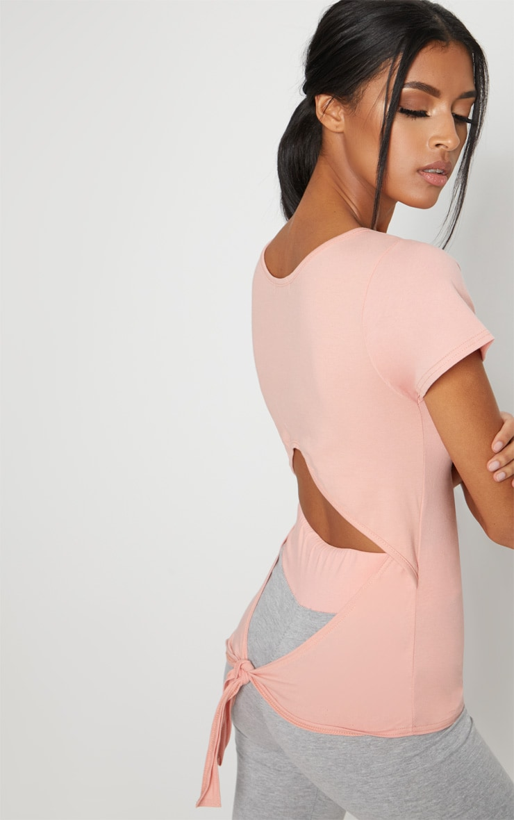 Pink Tie Back T Shirt 4