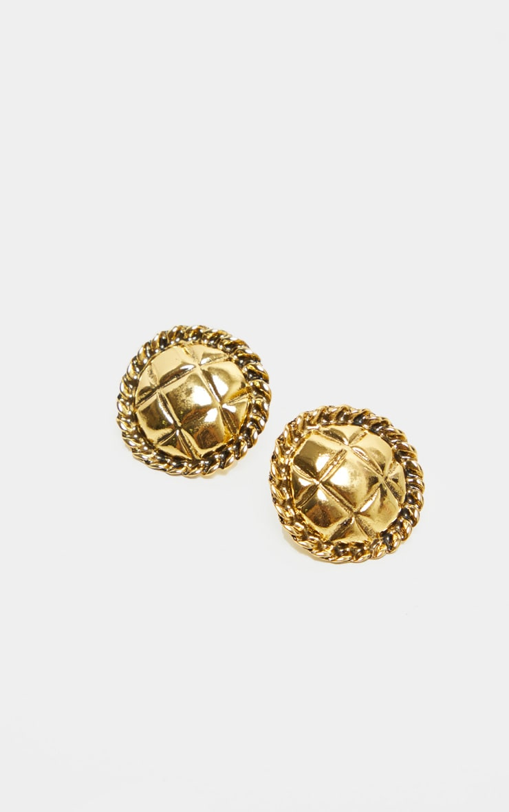 Gold Quilted Effect Round Stud Earrings 2