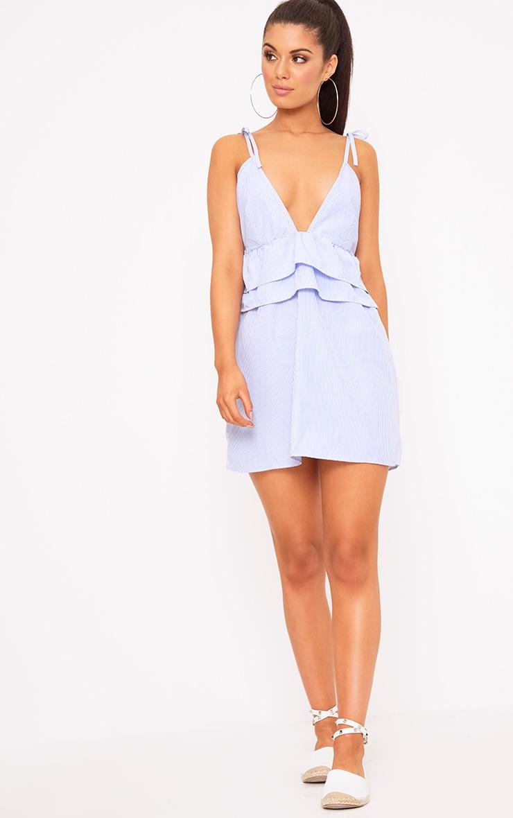 Blue Pinstripe Peplum Frill Detail Shift Dress 4