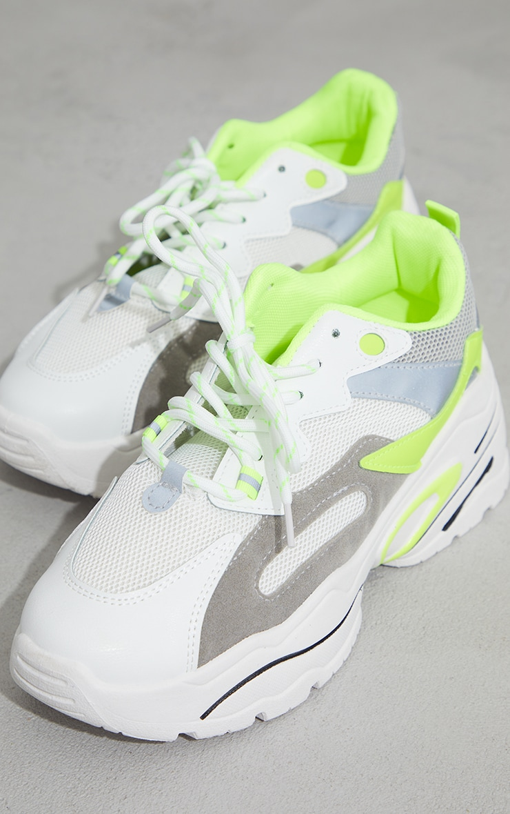 Lime Chunky Lace Up Sneakers  4
