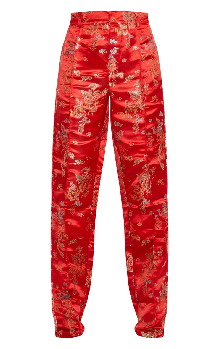 Red Jacquard Floral Straight Leg Trousers 5