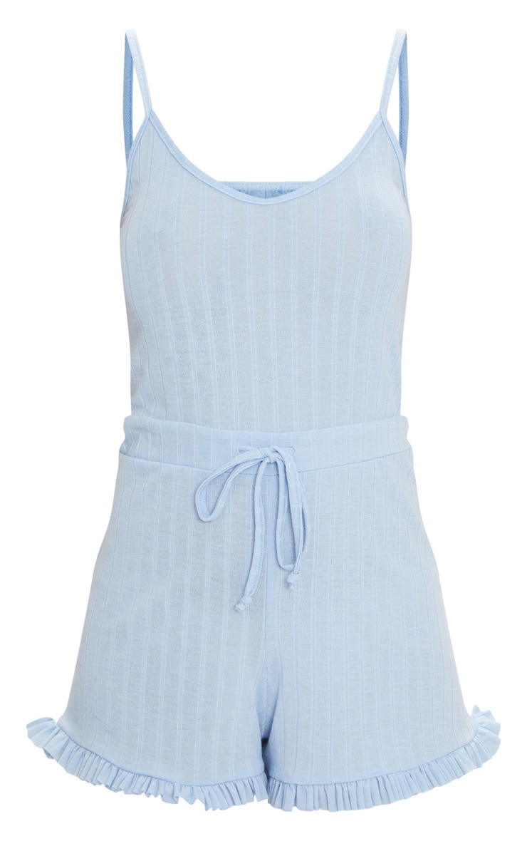 Baby Blue Strappy Thick Rib PJ Playsuit 3