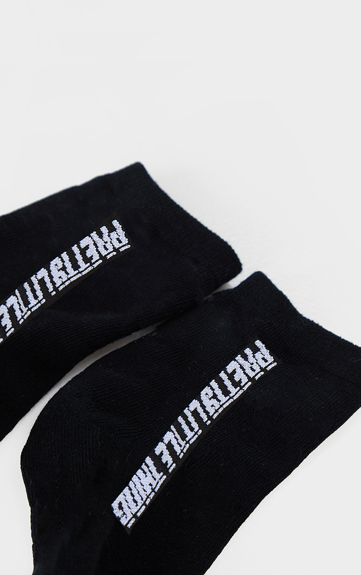 PRETTYLITTLETHING Black Logo Socks 3