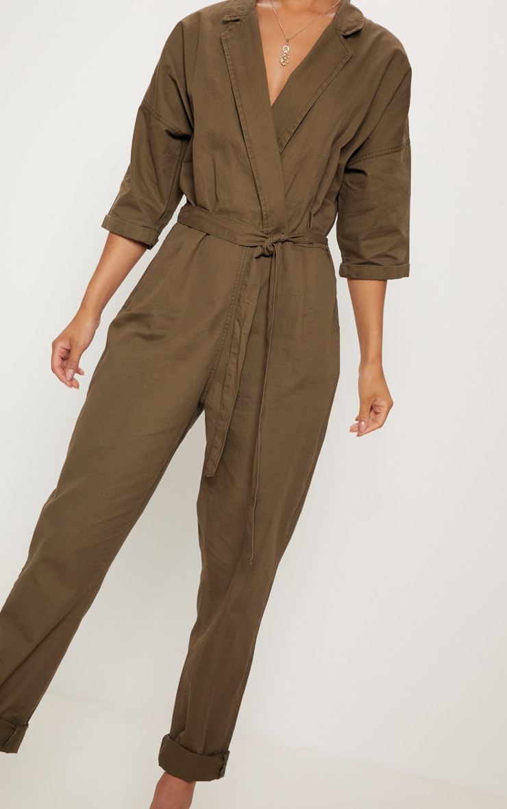 Khaki Denim Utility Jumpsuit  5