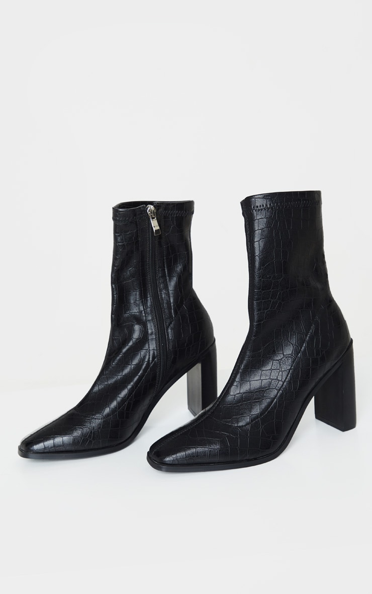 Black Flat Heel Square Toe Sock Boot 3