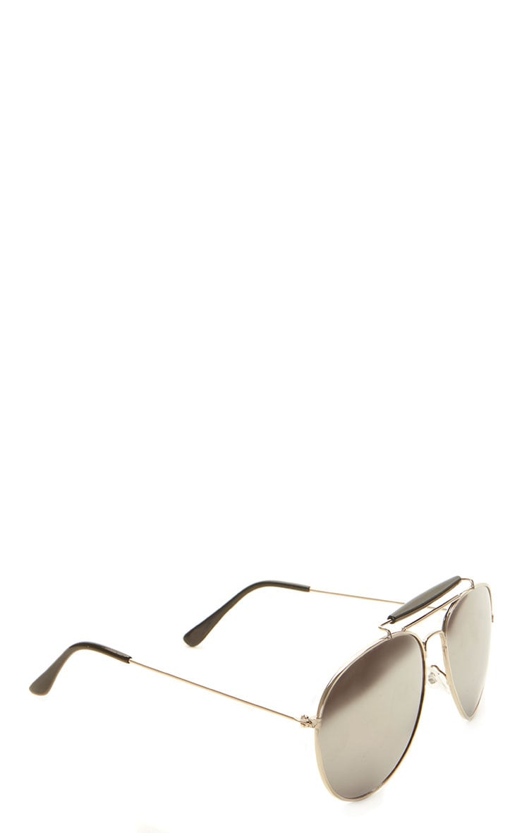 Lila Silver Frame Black Bar Aviators 5