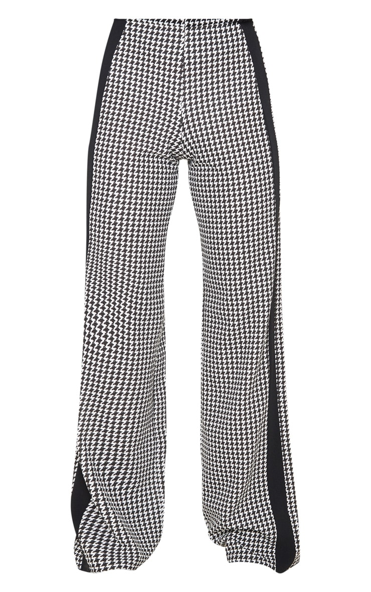 Black Dogtooth Wide Leg Side Stripe Trouser 3