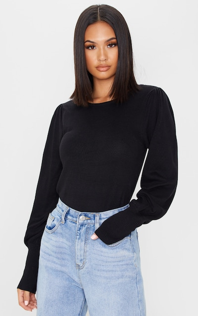 Black Puff Sleeve Knitted Jumper