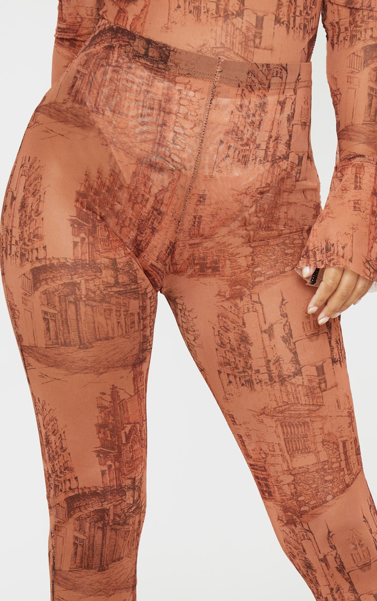 Petite Orange Sketch Print Mesh Legging 6