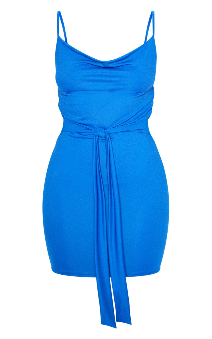 Cobalt Strappy Tie Waist Bodycon Dress 3
