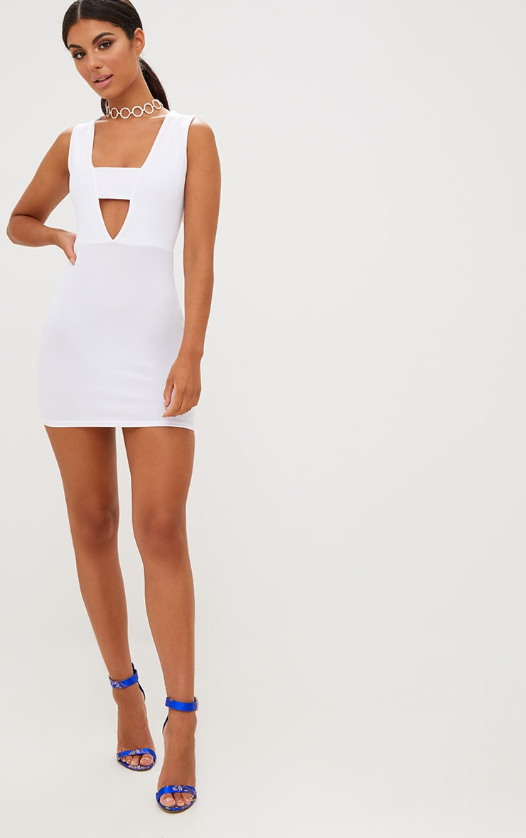 White Plunge Bodycon Dress 3