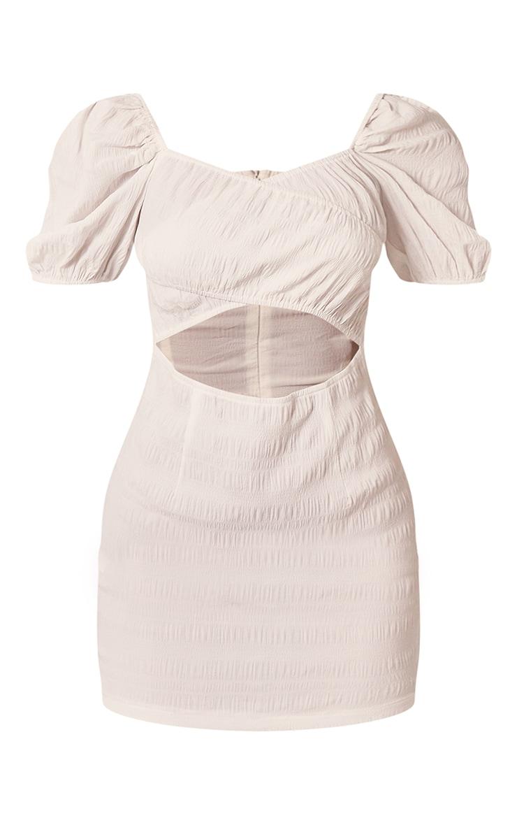 White Textured Linen Look Cut Out Puff Sleeve Shift Dress 5
