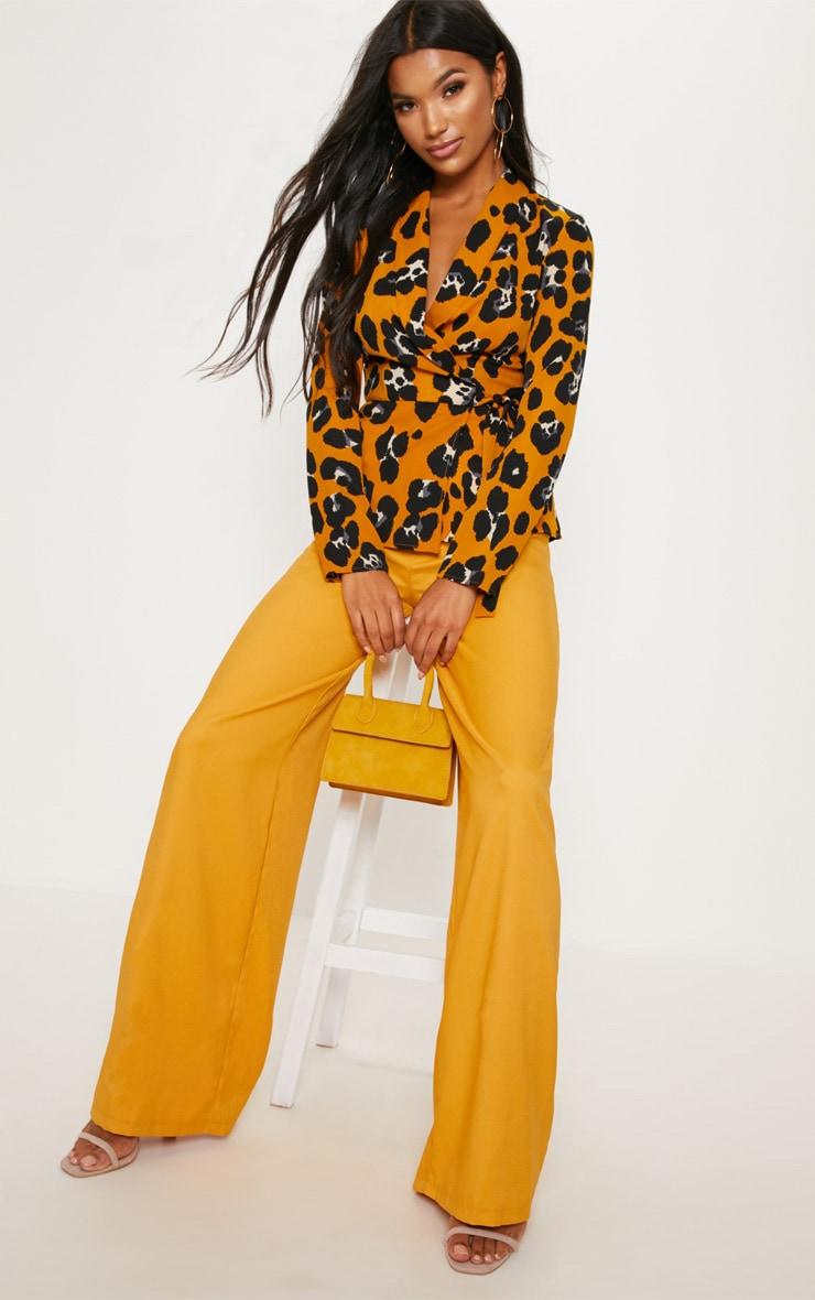 Mustard Leopard Tie Waist Wrap Blouse