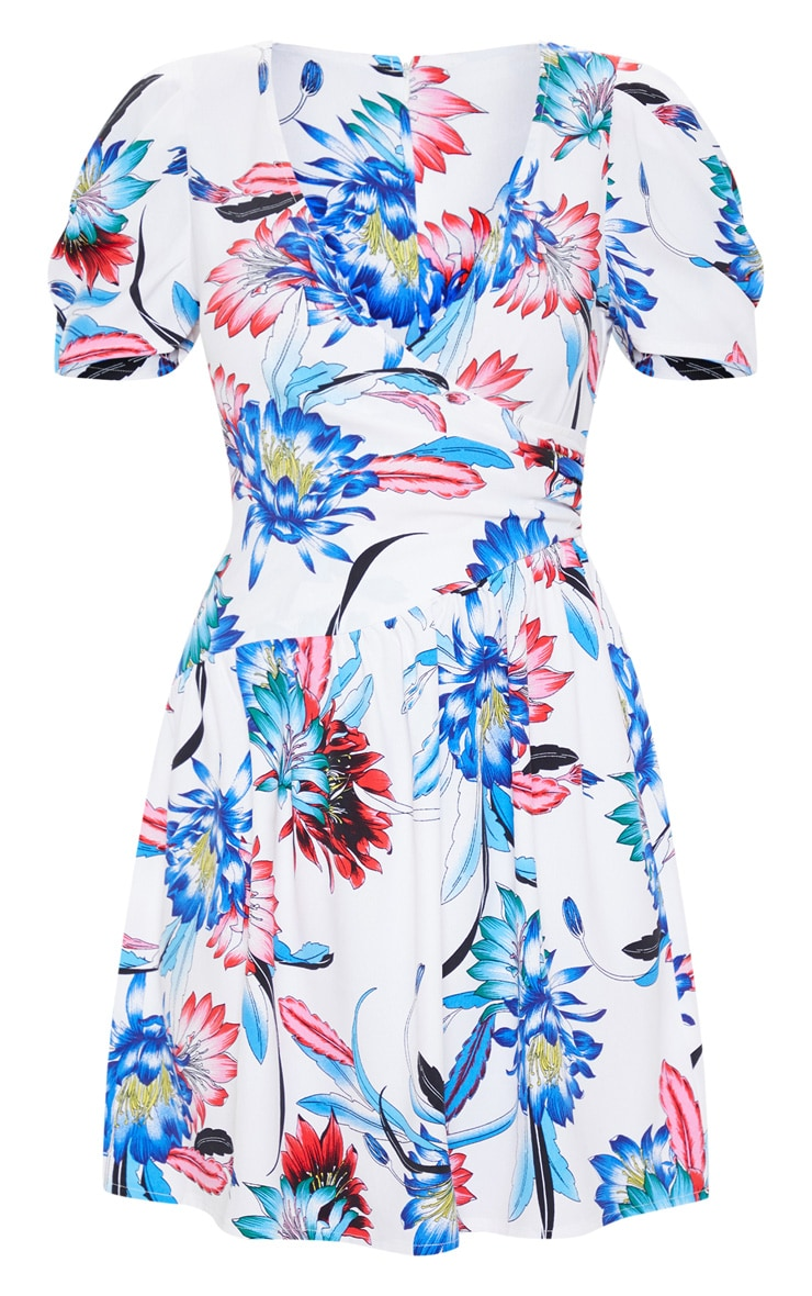 Cream Floral Printed Drop Hem Puff Sleeve Tea Dress 3