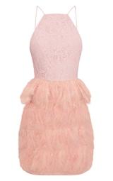 8545ef21f0b Robe moulante rose cendré avec haut en dentelle et jupe en plumes image 3