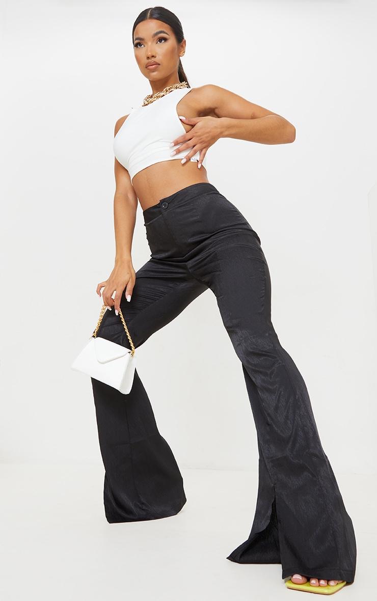 Black Woven Split Hem Flared Pants 1
