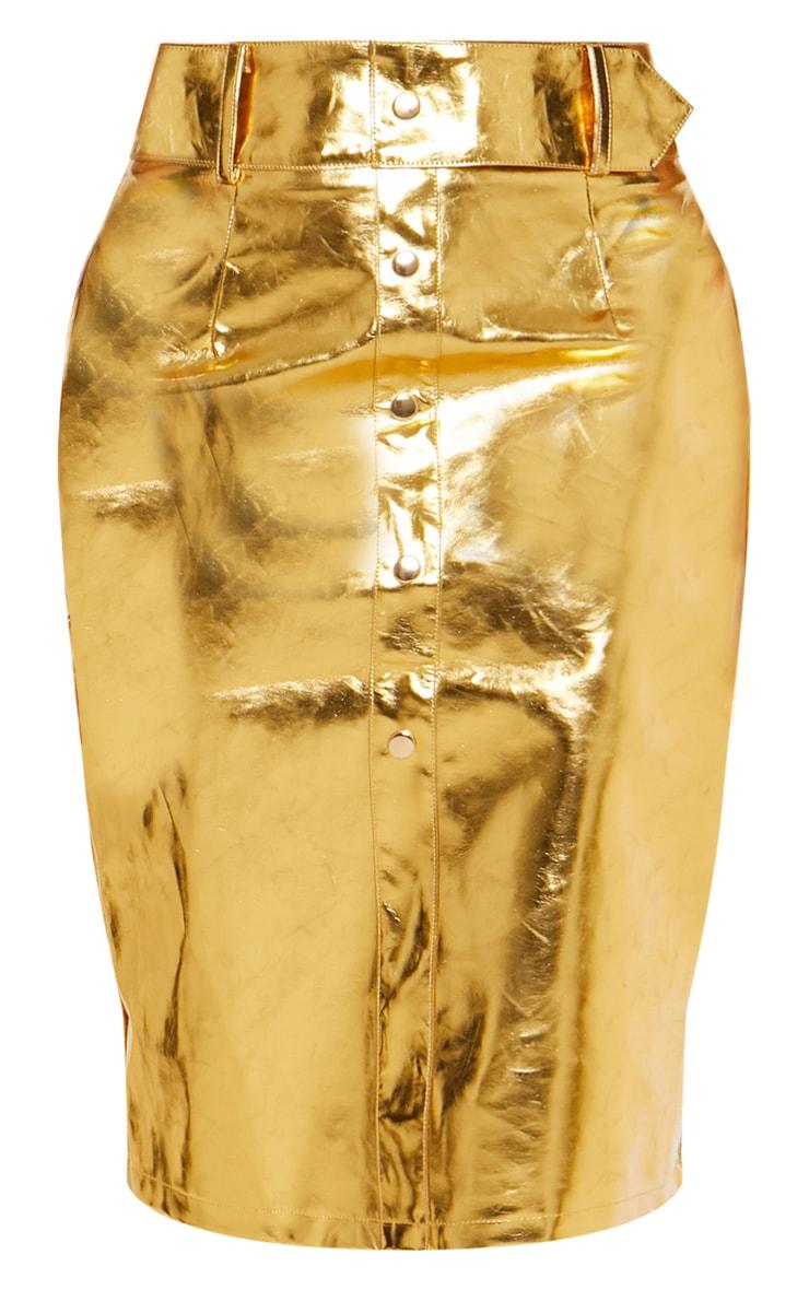 Shape Gold PU Button Front Midi Skirt  3
