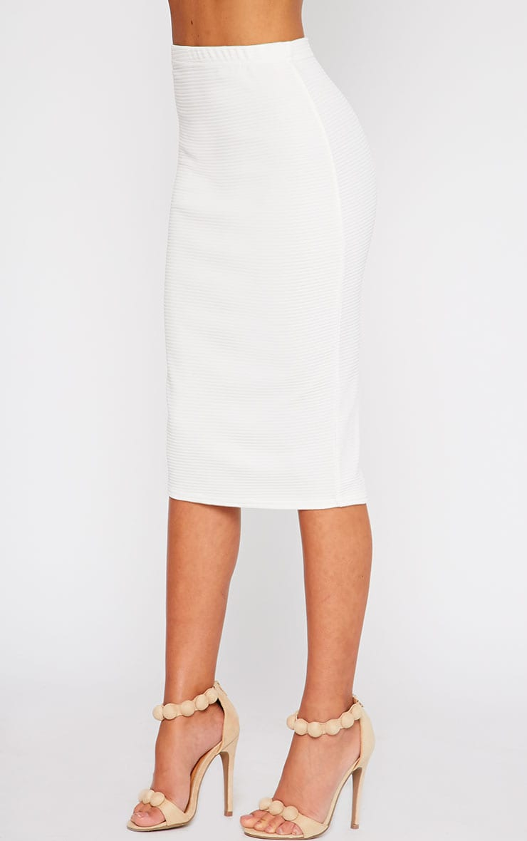 Britney Cream Ribbed Midi Skirt 3