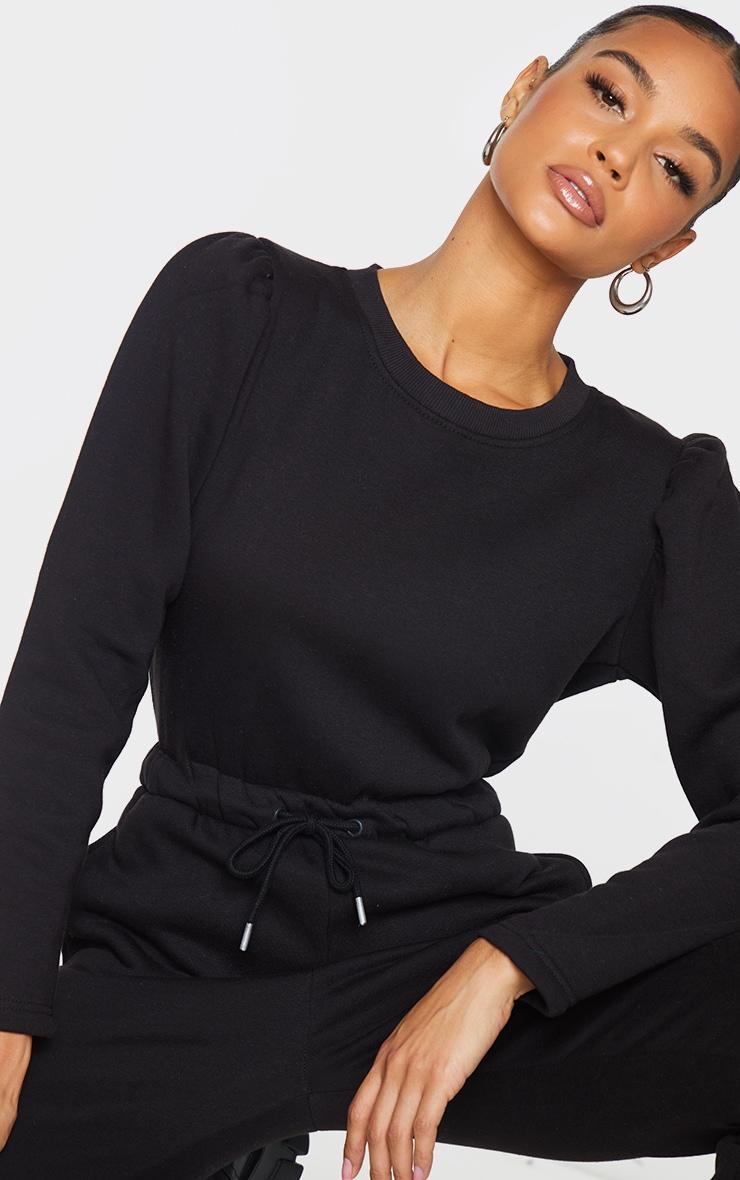 Black Puff Sleeve Sweat Jumpsuit 4