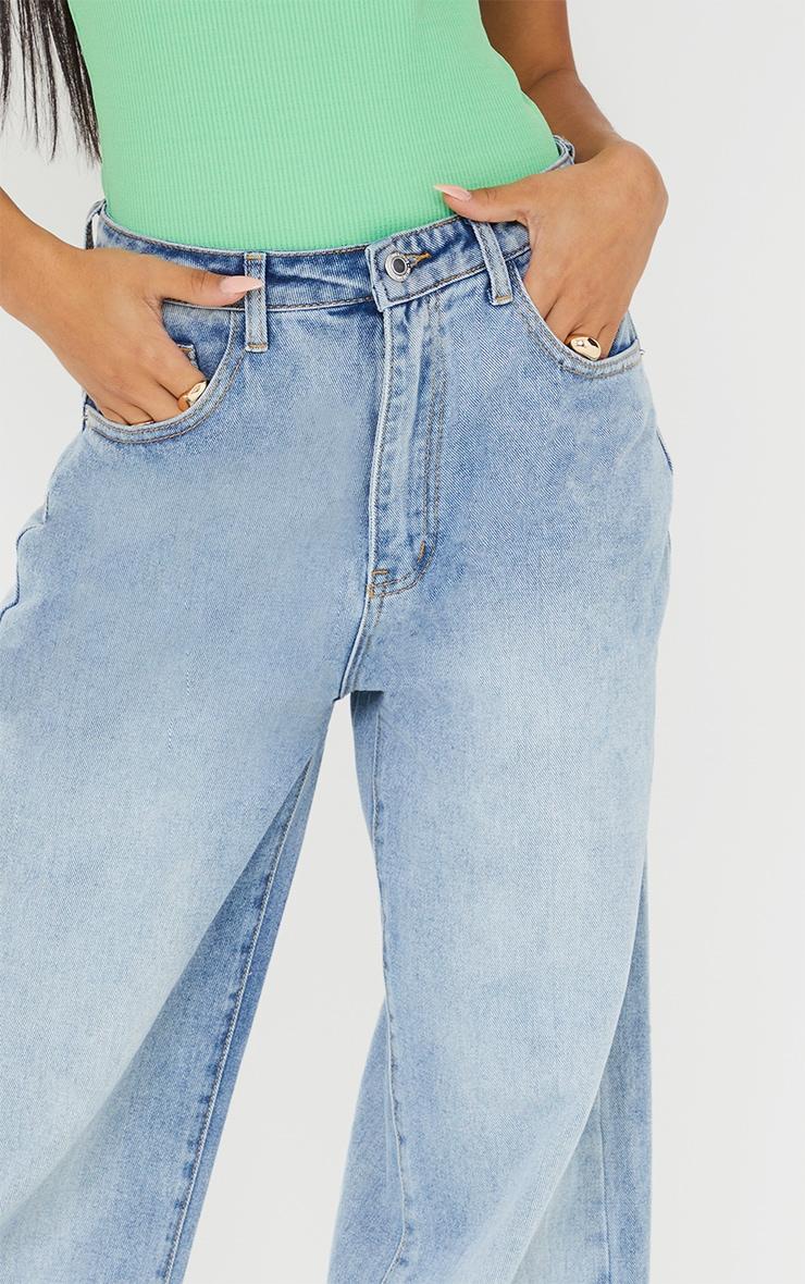 Light Blue Wash Zip Hem Wide Leg Jeans 4