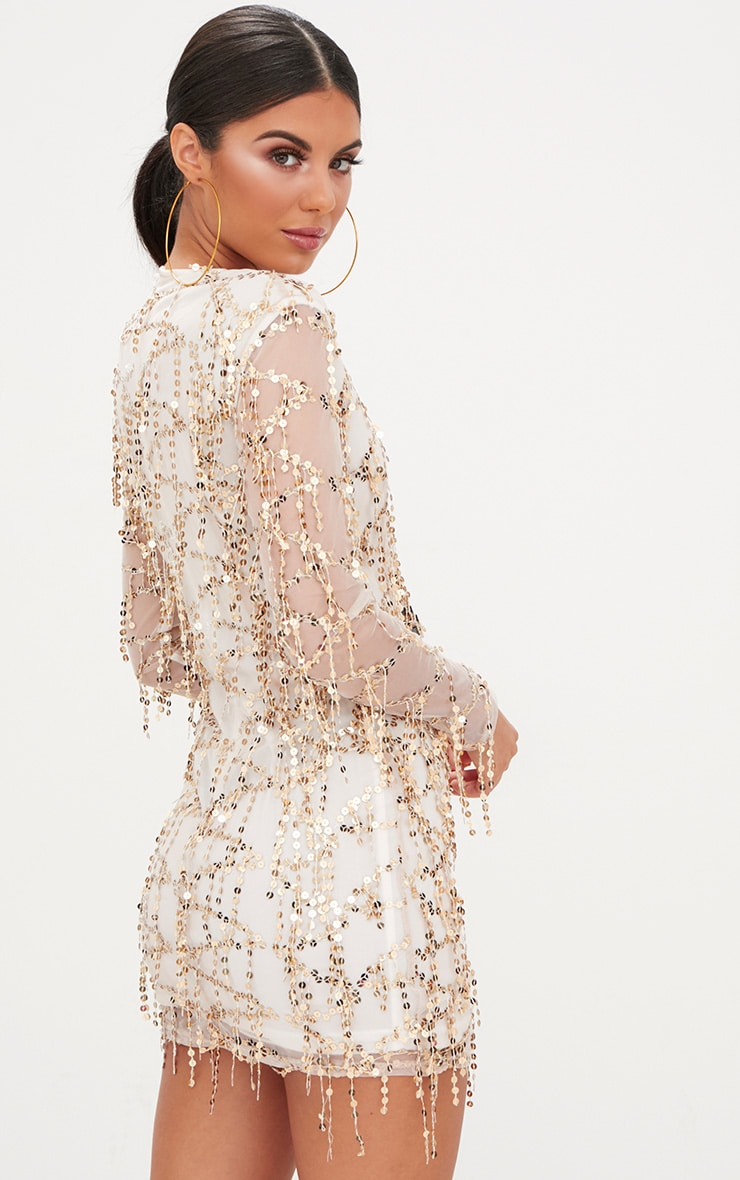 Rose Gold Sequin Detail Long Sleeve Bodycon Dress 2