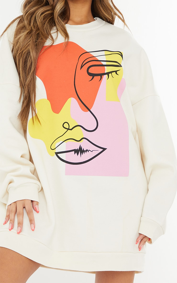 Cream Contrast Block Face Illustration Sweatshirt Dress 4