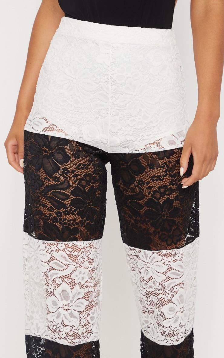 Black Colour Block Stripe Lace Wide Leg Trouser 5