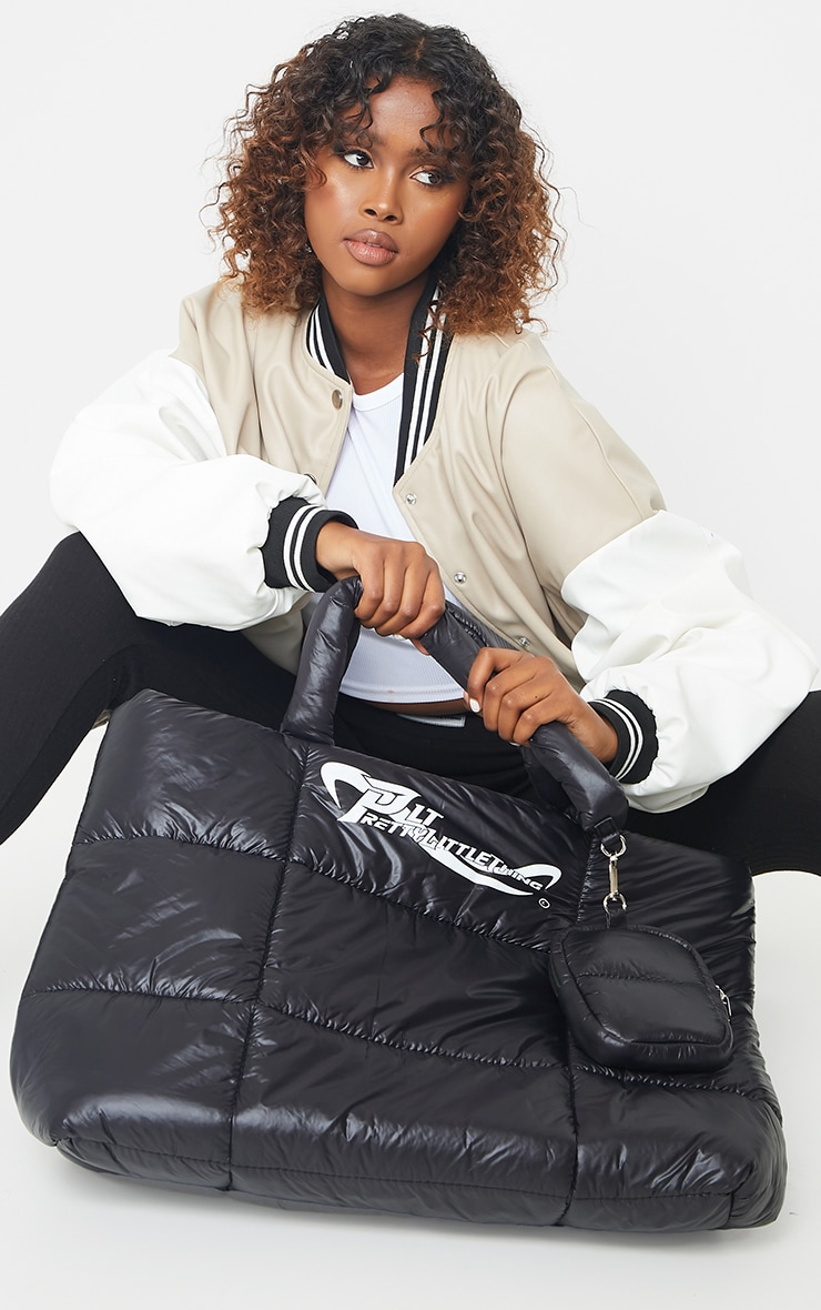 PRETTYLITTLETHING Black Swirl Logo Quilted Oversized Tote Bag 1