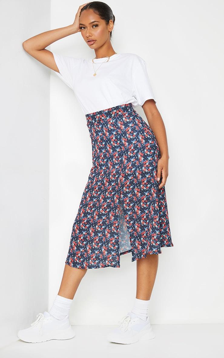 Black Floral Floaty Midi Skirt 1