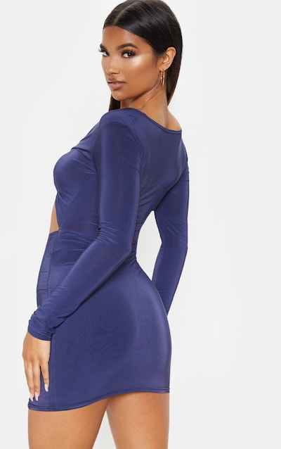 Midnight Blue Slinky Plunge Tie Front Cut Out Bodycon Dress