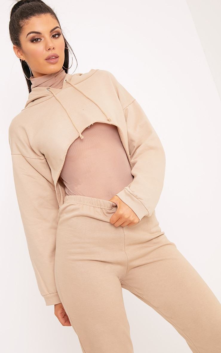 PLT Slogan Taupe Extreme Cropped Hoodie 3