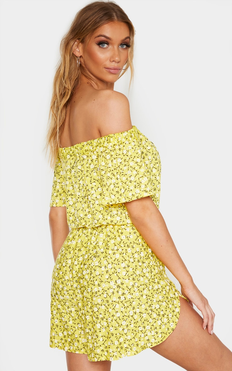 Tall Yellow Ditsy Floral Bardot Print Flare Sleeve Crop Top 2