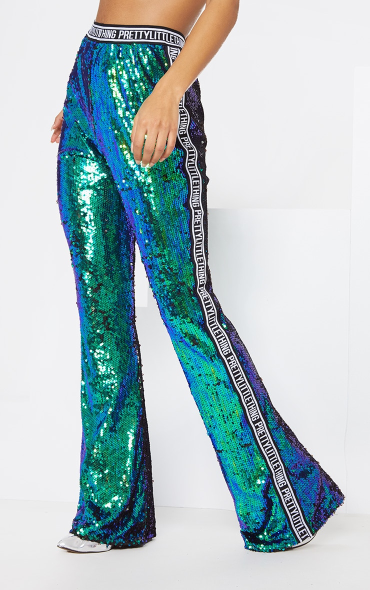 PRETTYLITTLETHING Green Sequin Side Tape Flared Trouser 3