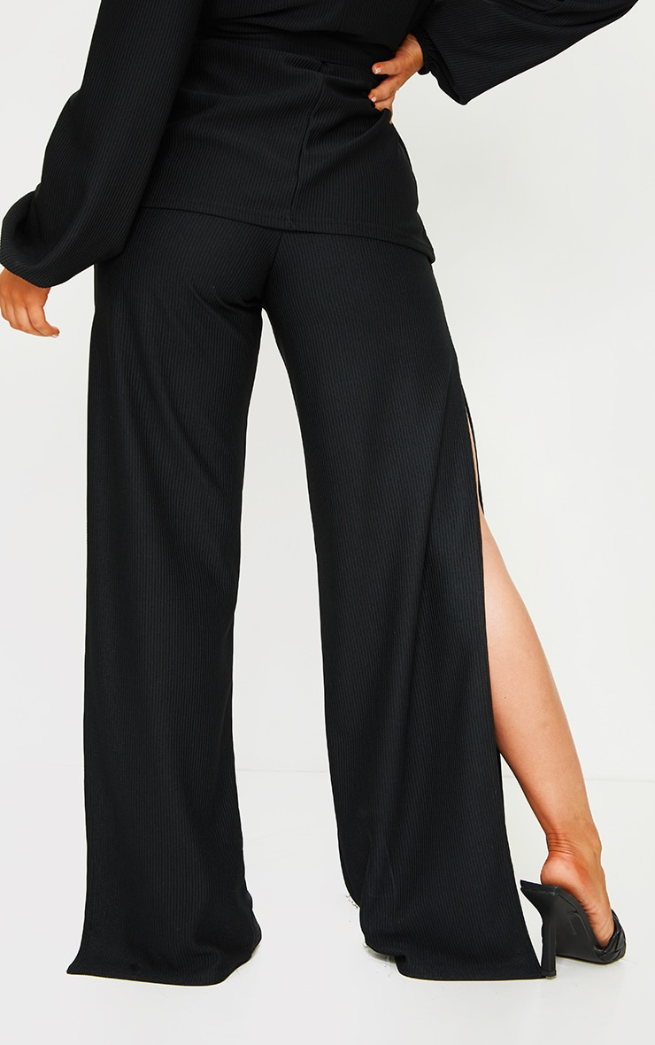 Black Wide Rib Split Side Pants 3